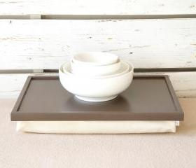 Breakfast serving Tray or Laptop Lap Desk- Greyish brown with ivory Linen fabric