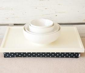 I- Pad stand or Laptop Lap Desk- Off white with Black and white polka Dots lycra Pillow
