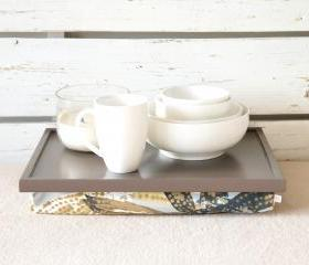 Breakfast serving Tray or Laptop Lap Desk- Greyish Brown with Blue and Brown Floral pillow