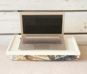 Breakfast serving Tray or Laptop Lap Desk- Off white with Blue and Brown Floral pillow