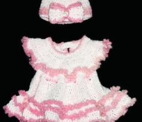Newborn Girls Pink Dress with Ruffles- Crochet Infant Girls Christening Dress with matching Hat