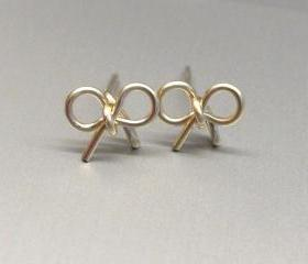 Gold Bow Earrings, Tiny Silver Bow Studs Earrings, Tiny Bow Post, Stud Earrings, Tie the Knot Earrings