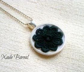 Black lace flower pendant necklace