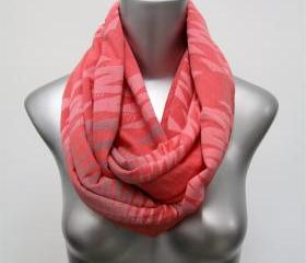 Coral Infinity Scarf Loop Scarf Head Neck Wrap - Circle Scarf Scarves - Spring - Womens Mens Necklace Fabric Jewelry - Tribal Unique