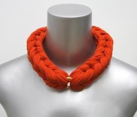 Blood Orange Necklace Braided Jewelry Knotted Choker Tribal Jewelry African Braid Collar Spring Fashion Jewelry