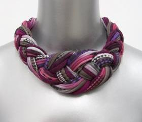Collar Necklace Braided Tribal Knotted Choker Fabric Jewelry Braid Neckpiece Burgundy African Knot Spring Fashion Jewelry