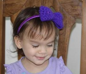 Girls Purple Headband Purple Bow Headbands for Little Girls Crochet Purple Headband