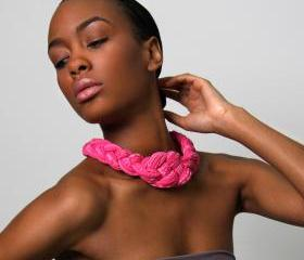 Collar Necklace Choker Braided knotted Chokers Bright Neon Pink Flambe African Neckpiece Tribal Jewelry Spring Fashion Jewelry