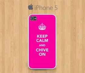 iPhone 5 Case White, Keep Calm and Chive On Pink Colour