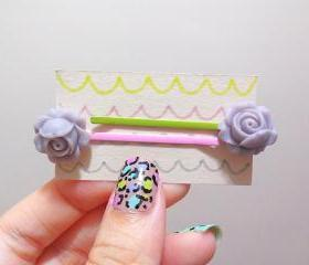 Clay Flower Bobby Hair Pin in a Pair ( Light Purple)