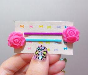 Clay Flower Bobby Hair Pin in a Pair  Magenta / Deep Pink )
