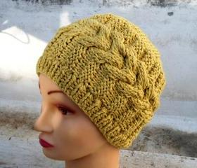 Women Cable Knit Hat, Mustard Yellow Hat, Knit Beret, Oversized Hat, Knit Hat