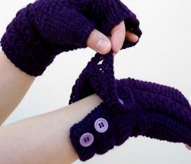 Fingerless Gloves, Knit Purple Mittens with Button, Arm Warmers, Winter Accessories