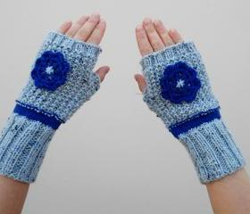 Baby Blue Mittens, Knit Fingerless Gloves with Blue Flower, Arm Warmers, Winter Accessories