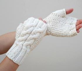 Knit Double Cable Fingerless Gloves, Beige Mittens, Arm Warmers, Winter Accessories