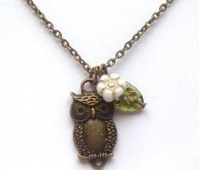 Antiqued Brass White Czech Glass Flower Owl Necklace