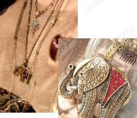 Retro Vintage Bronze Red Rhinestone Lucky Elephant Pendant Necklace