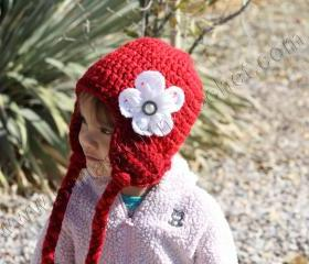 Girls Red Hat for Girls - Wool Blend Little Girls Red Hat - Beanies with White Flower- Wool Blend Red Hat