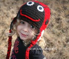 Girls Lady Bug Hat - Red Hat Lady Bug with Tassels and Flaps Gorgeous Lady Bug Hat Crochet Lady Bug Hat 2012