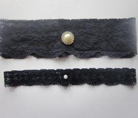 Bridal Garter Set - Navy Blue Garter Set -The Original Simply Chic Garter
