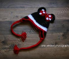 Red Hat Girls Red Hat- Minnie Mouse For Little Girls- Bow Hat