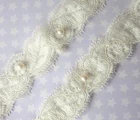 Ivory Garter Set / Wedding Garter including toss Garter / Garter - Simply Pearls Bridal Garter Set
