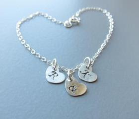 Personalized Bracelet: Sterling Silver Initial Heart Charm Bracelet, Bridesmaid Bracelet, Bridesmaid Gift, Valentines Day Gift