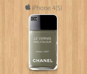 iPhone 4 Case, iPhone 4S Case White, Nail Polish Chanel, Le Vernis Khaki Vert Chanel