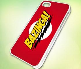 Bazinga design for iPhone 5 White Plastic Case - leave message for Black Case / iPhone 4 or iPhone 4S Case