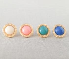 Vintage style Gold Framed Post Earrings(Choose one color)