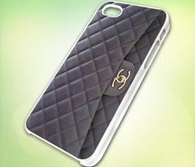 chanel handbag design for iPhone 5 White Plastic Case - leave message for Black Case / iPhone 4 or iPhone 4S Case
