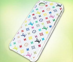 Louis Vuitton Logo Colorful design for iPhone 5 White Plastic Case - leave message for Black Case / iPhone 4 or iPhone 4S Case