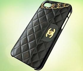 chanel handbag design for iPhone 5 Black Plastic Case - leave message for White Case / iPhone 4 or iPhone 4S Case