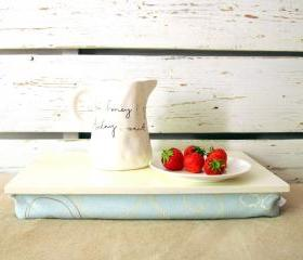 Computer pillow tray without borders- off white with sky blue floral cushion- Custom Order