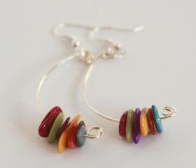 Multi-coloured mother of pearl dangle earrings