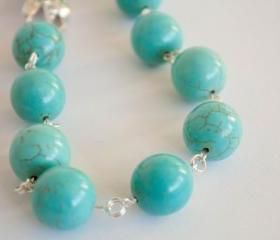 Turquoise chunky necklace, December birthstone necklace