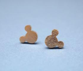 Big Mickey Mouse studs earrings in matt gold, 925 silver post