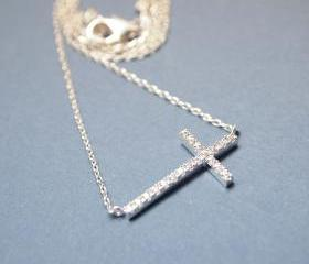 SWAROVSKI SIDEWAYS CROSS NECKLACE IN SILVER