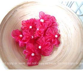 Organza scarlet jewel flower with pearl centered / pack