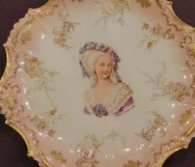 Limoges Porcelain Portrait Salmon Pink Plate of Marie Antoinette