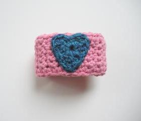 Pink Cotton Crochet Cuff Bracelet with Royal Blue Heart, ready to ship.