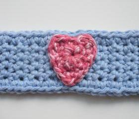 Cotton Crochet Cuff Bracelet in Cornflower Blue with Pink Heart, ready to ship.
