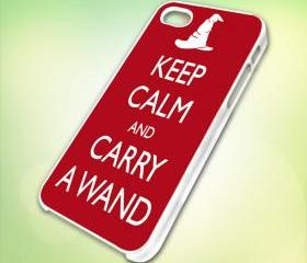 HP027 keep calm and carry a wand design for iPhone 5 White Plastic Case - leave message for Black Case / iPhone 4 or iPhone 4S Case