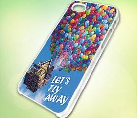 HP029 pixar up lets flay away design for iPhone 5 White Plastic Case - leave message for Black Case / iPhone 4 or iPhone 4S Case