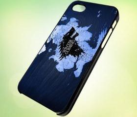 HP036 game of thrones winter is coming logo and map design for iPhone 5 Black Plastic Case - leave message for White Case / iPhone 4 or iPhone 4S Case