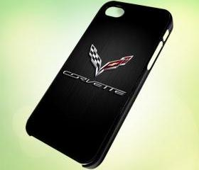 HP038 c7 corvette logo design for iPhone 5 Black Plastic Case - leave message for White Case / iPhone 4 or iPhone 4S Case
