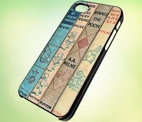 HP045 Winnie the Pooh, Vintage Books design for iPhone 5 Black Plastic Case - leave message for White Case / iPhone 4 or iPhone 4S Case