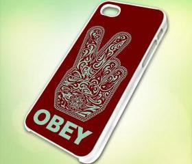 HP102 OBEY Peace design for iPhone 5 White Plastic Case - leave message for Black Case / iPhone 4 or iPhone 4S Case