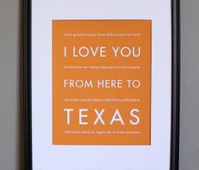 I Love You From Here To Texas, Travel Art Print