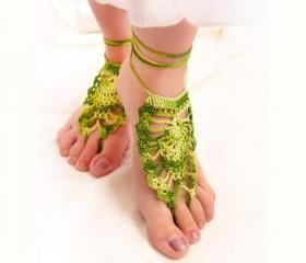Gypsy Crochet Barefoot sandals. Sexy foot jewelry. green nude shoes yoga, belly-dance, Summer beach fashion